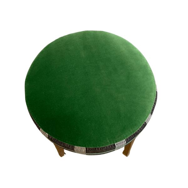 Green velvet stool top