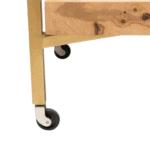 wheel detail of olive wood bar cart