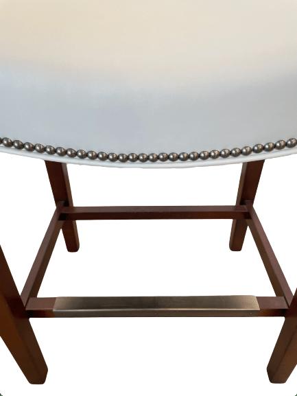 antique nickel nailhead trim on leather stool
